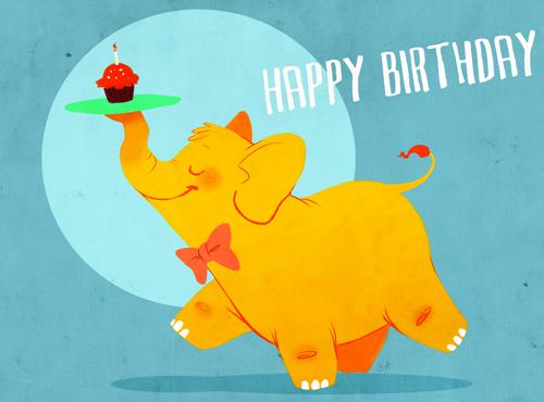 С днем рождения открытка со слоном
